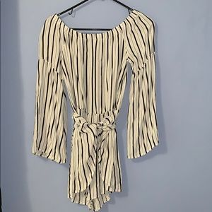 Dresses & Skirts - Off the shoulder with and back striped romper